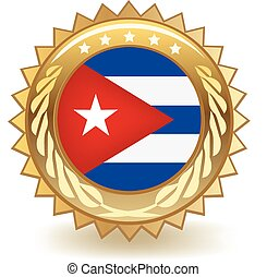 Cuba Badge - Gold badge with the flag of Cuba