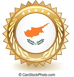 Cyprus Badge - Gold badge with the flag of Cyprus