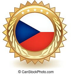 Czech Republic Badge - Gold badge with the flag of the Czech...