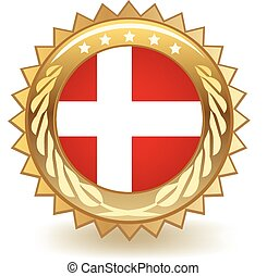 Denmark Badge - Gold badge with the flag of Denmark