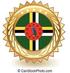 Dominica Badge - Gold badge with the flag of Dominica.