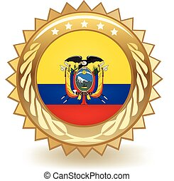 Ecuador Badge - Gold badge with the flag of Ecuador