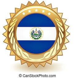 El Salvador Badge - Gold badge with the flag of El Salvador