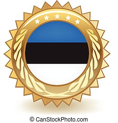 Estonia Badge - Gold badge with the flag of Estonia.