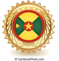 Grenada Badge - Gold badge with the flag of Grenada