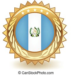 Guatemala Badge - Gold badge with the flag of Guatemala.