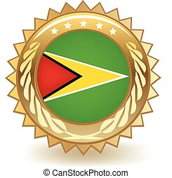 Guyana Badge - Gold badge with the flag of Guyana
