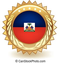 Haiti Badge - Gold badge with the flag of Haiti