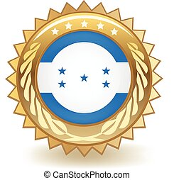 Honduras Badge - Gold badge with the flag of Honduras