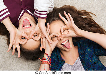 happy smiling pretty teenage girls having fun - people,...