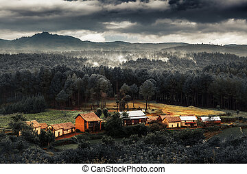 Madagascar - Houses in deforestation area with smoke over...