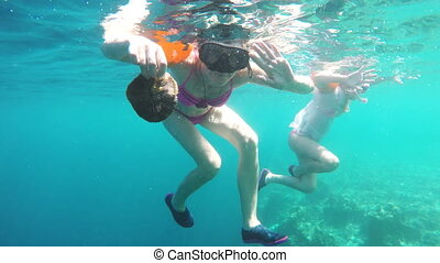 Woman scuba diver - Womanscuba diver and coral.Group of...