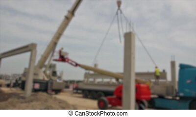 Mobile crane is carry concrete joist - Blur view on mobile...