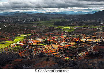 Madagascar - Valley with villages and green fields...