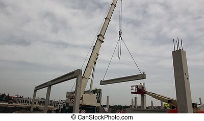 Mobile crane is operating, assembly - Mobile crane is carry...