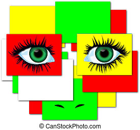 Eyes abstract composition - Eyes illustration with abstract...