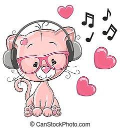 Cat with headphones - Cute cartoon kitten with headphones