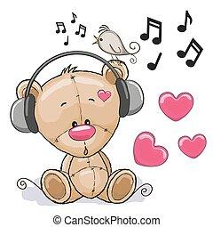 Bear with headphones - Cute cartoon Teddy Bear with...