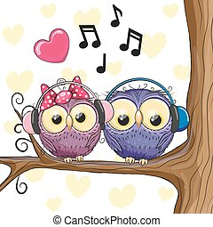 Two owls with headphones - Two Cute cartoon Owls with...