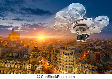 Drone over city - 3D rendering of a drone flying Madrid city...