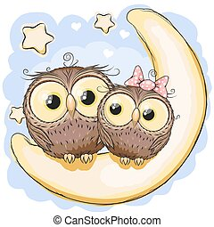 Two Owls on the moon