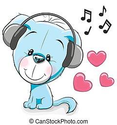 Dog with headphones - Cute cartoon Dog with headphones on a...