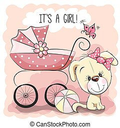 Dog with baby carriage