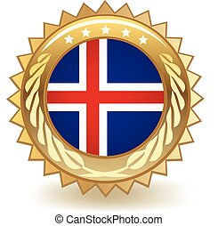 Iceland Badge - Gold badge with the flag of Iceland