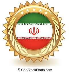 Iran Badge - Gold badge with the flag of Iran.
