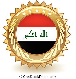 Iraq Badge - Gold badge with the flag of Iraq