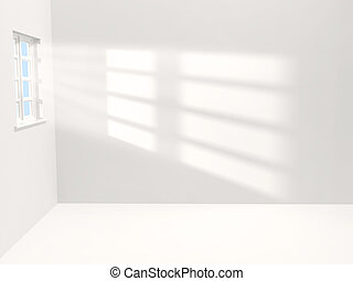White room - Empty white room with sunlight shining through...