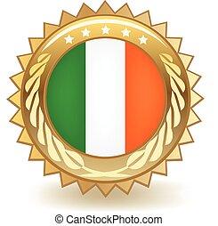 Ireland Badge - Gold badge with the flag of Ireland