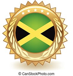 Jamaica Badge - Gold badge with the flag of Jamaica