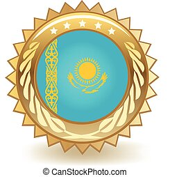 Kazakhstan Badge - Gold badge with the flag of Kazakhstan
