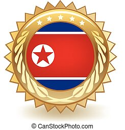 North Korea Badge - Gold badge with the flag of North Korea