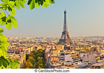 View on Eiffel tower at sunset