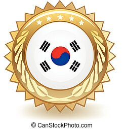 South Korea Badge - Gold badge with the flag of South Korea