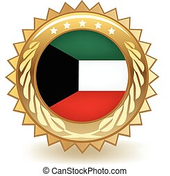 Kuwait Badge - Gold badge with the flag of Kuwait