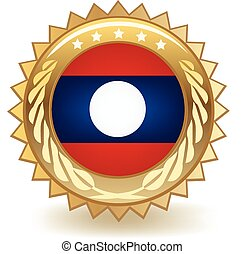 Laos Badge - Gold badge with the flag of Laos