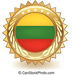 Lithuania Badge - Gold badge with the flag of Lithuania.