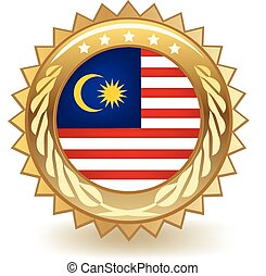 Malaysia Badge - Gold badge with the flag of Malaysia.