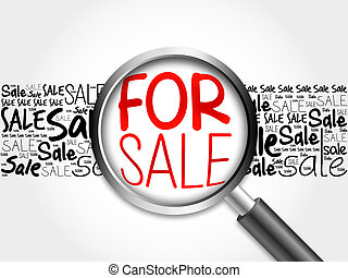 FOR SALE word cloud with magnifying glass, business concept