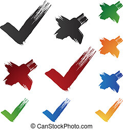 Checkmark Brushstrokes isolated on a white background