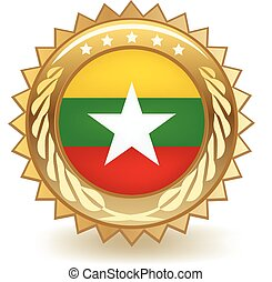 Myanmar Badge - Gold badge with the flag of Myanmar.