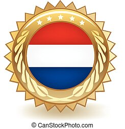 Netherlands Badge - Gold badge with the flag of Netherlands