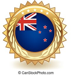 New Zealand Badge - Gold badge with the flag of New Zealand