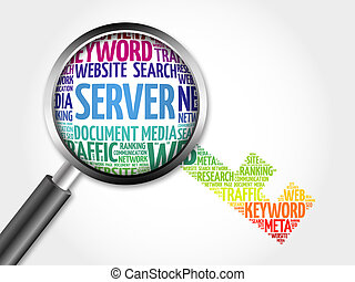 Server Key word cloud with magnifying glass, business...