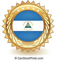 Nicaragua Badge - Gold badge with the flag of Nicaragua.