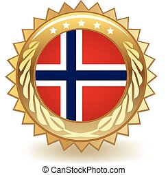 Norway Badge - Gold badge with the flag of Norway