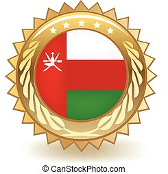 Oman Badge - Gold badge with the flag of Oman.